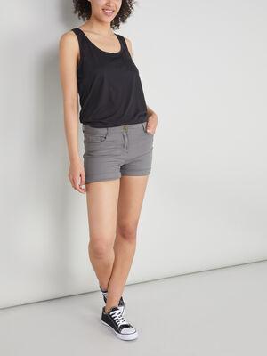 Short uni taille basse vert kaki femme