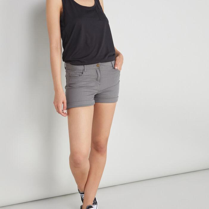 Short uni taille basse femme vert kaki