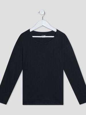 T shirt manches longues noir fille