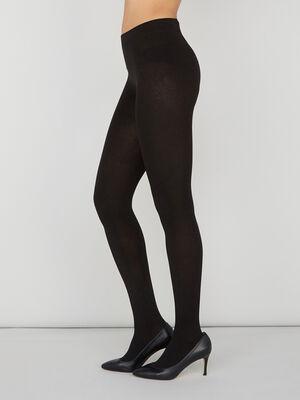Collant chaud uni noir femme