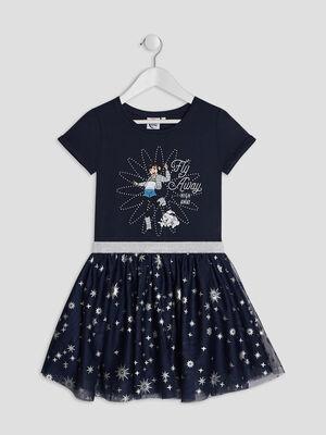 Robe Voyage vers la Lune bleu marine fille