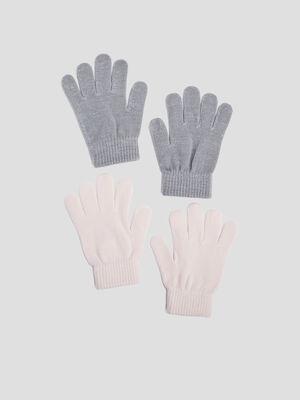 Lot 2 paires de gants multicolore mixte
