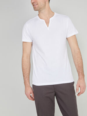 T shirt col tunisien uni blanc homme