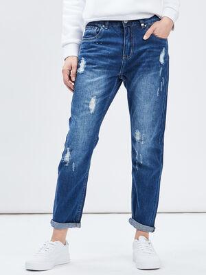 Jeans mom effet destroy denim stone femme