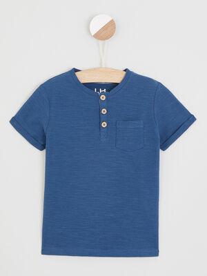 T shirt uni col rond boutonne bleu gris garcon