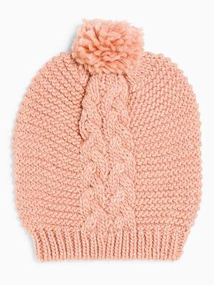 Bonnet maille metallisee avec torsades rose mixte