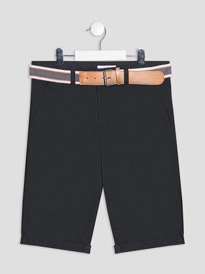 Bermuda droit ceinture noir garcon