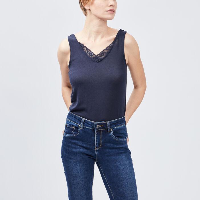 Débardeur bretelles larges femme bleu marine