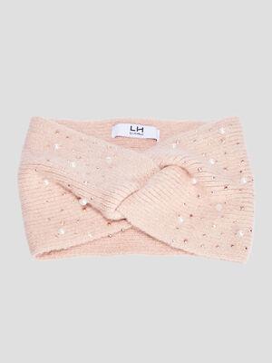 Bandeau tricote avec perles rose clair femme