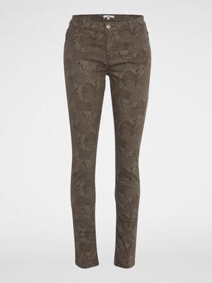 Pantalon imprime coupe droite beige femme