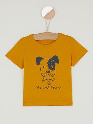 T shirt col rond message devant jaune bebeg