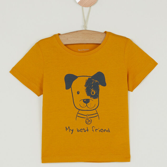 T-shirt col rond message devant bébé garçon jaune