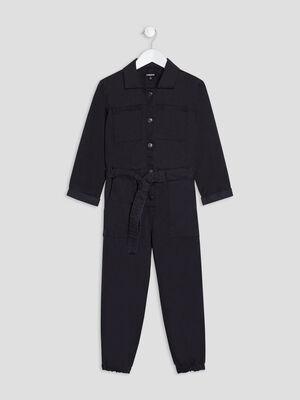 Combinaison pantalon Liberto denim snow noir fille