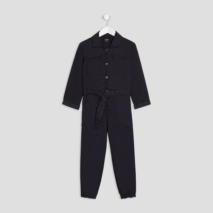 Combinaison pantalon Liberto fille denim snow noir