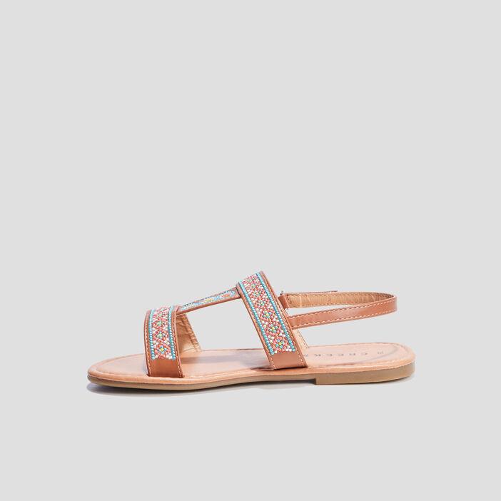 Sandales brodées Creeks fille camel