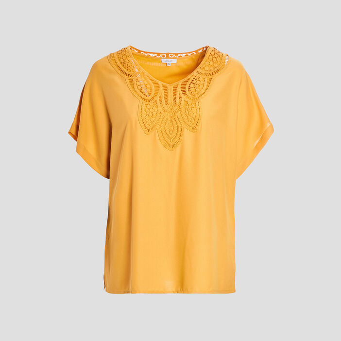 Blouse manches courtes femme grande taille jaune moutarde