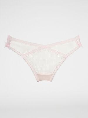 String en dentelle avec lacages rose clair femme