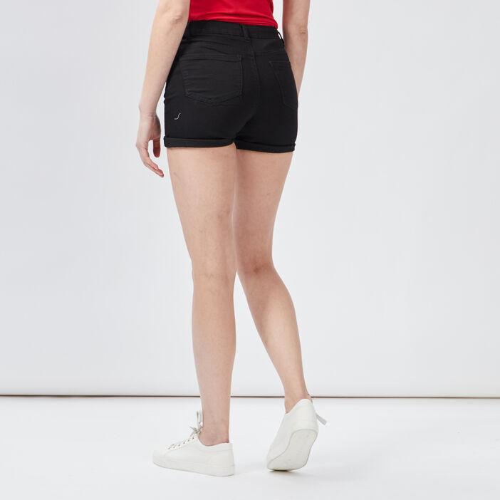 Short slim en jean femme noir