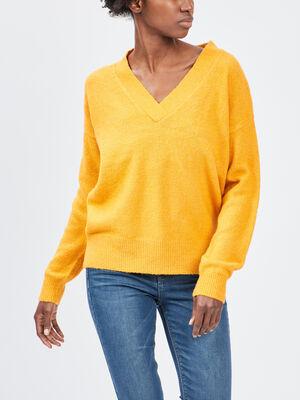 Pull avec col en V jaune moutarde femme
