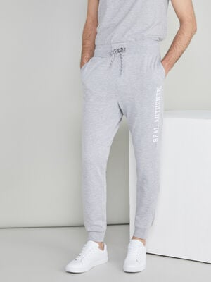 Jogging inscriptions laterales gris homme