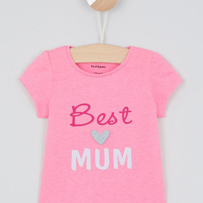 T-shirt inscriptions devant bébé fille rose fluo