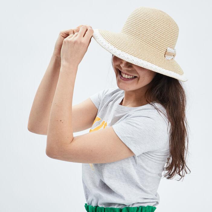 Chapeau tressé à noeud femme marron