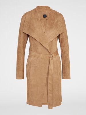 Manteau suedine uni taille ceinturee camel femme