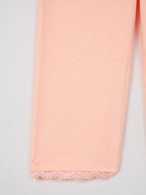 Legging uni bas en dentelle orange fluo fille