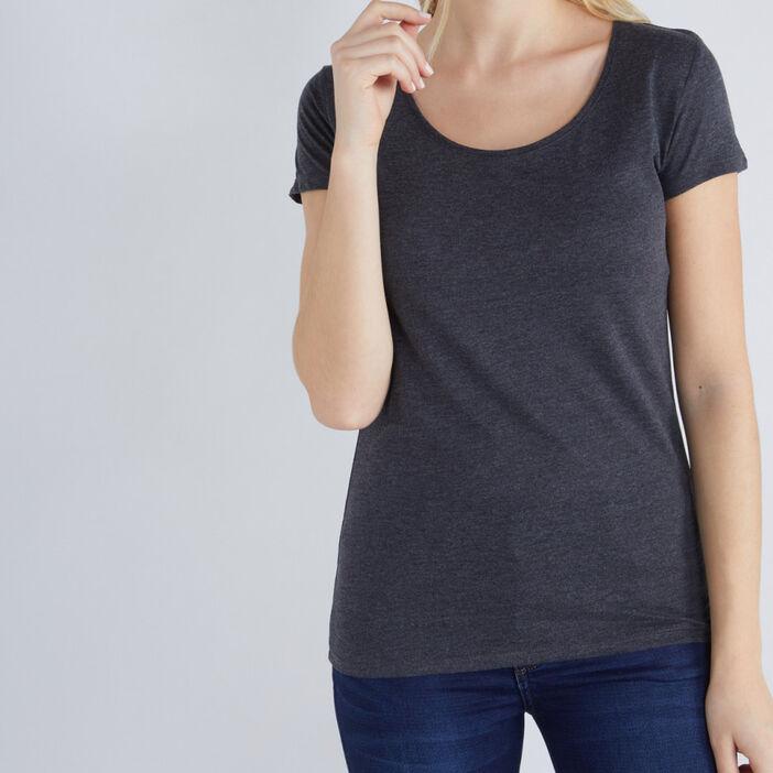 T-shirt chiné coton majoritaire femme gris foncé