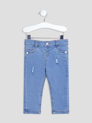 Jeans droit details destroy denim bleach bebef