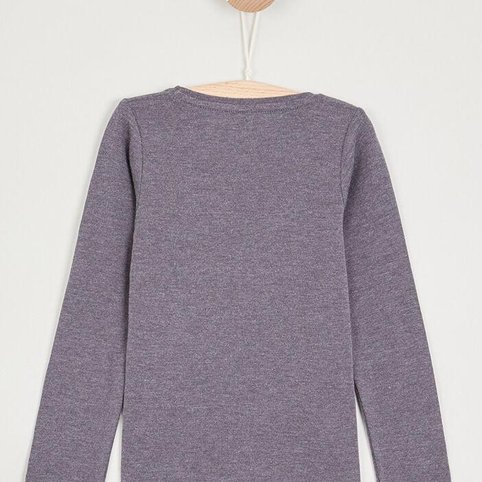 T-shirt uni en coton fille gris foncé
