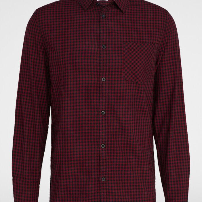 Chemise à carreaux en coton homme bordeaux