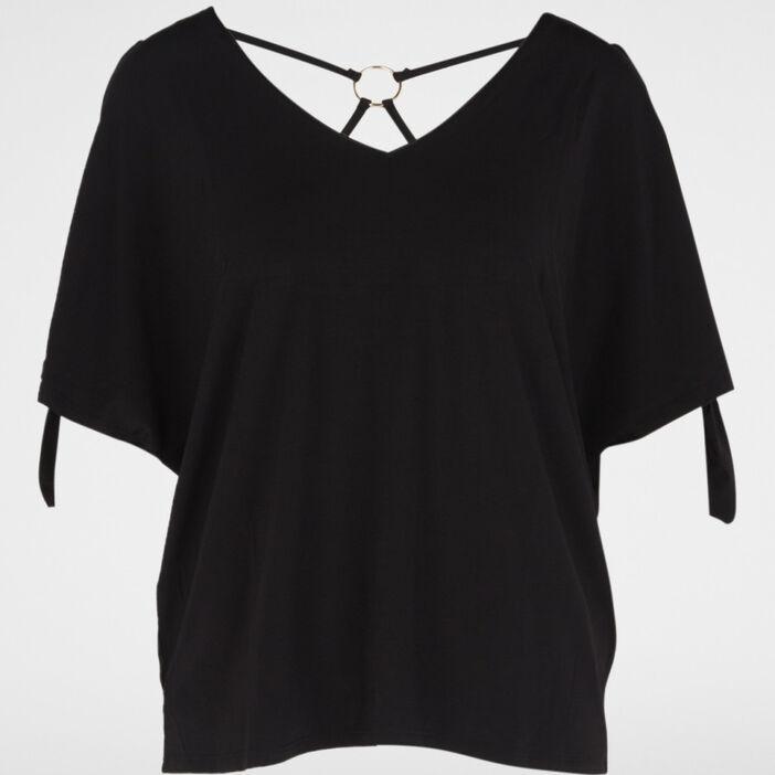 T-shirt avec dos fantaisie femme noir