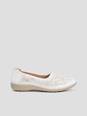 Mocassins perfores blanc femme