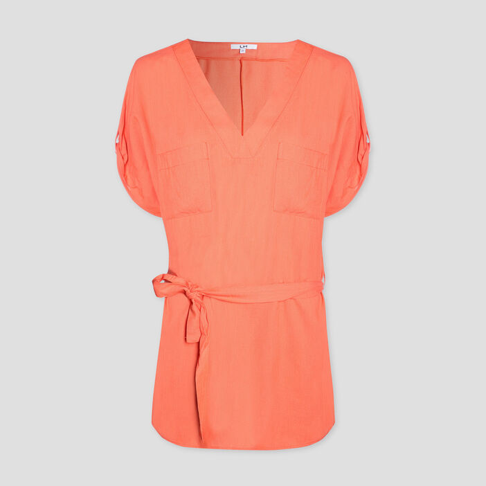Blouse manches courtes femme orange