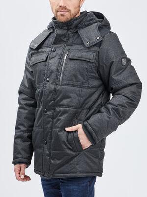 Doudoune a capuche gris homme