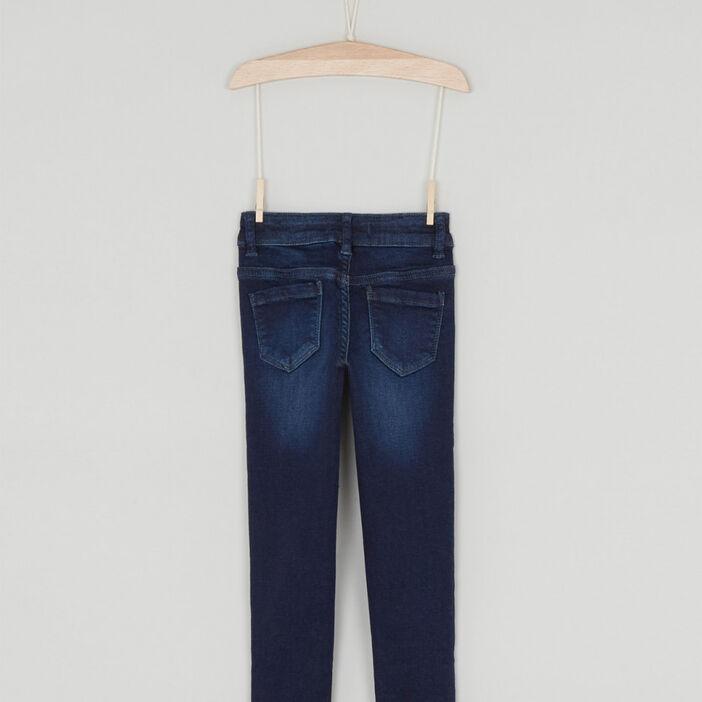 Jeans skinny taille ajustable fille denim brut