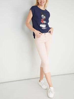 Pantacourt slim en jean rose clair femme