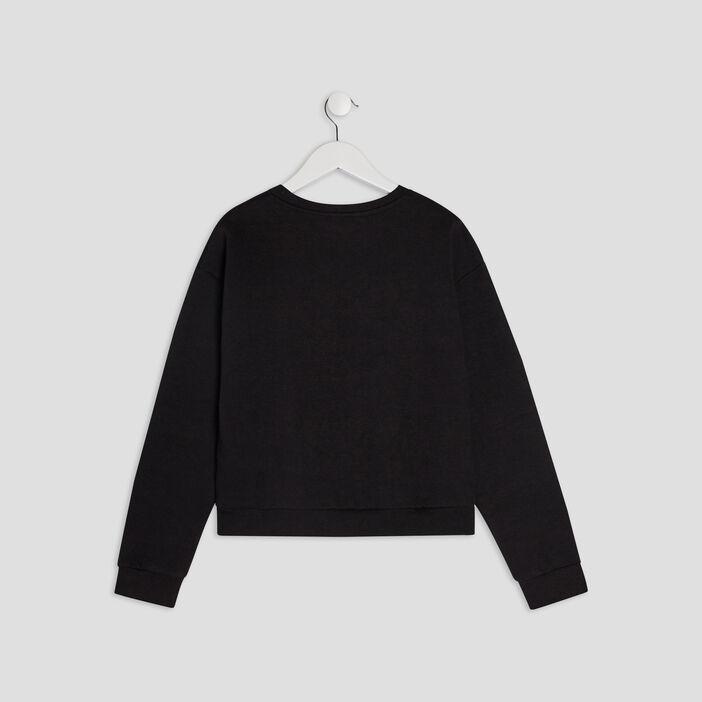 Sweatshirt court avec imprimé fille noir