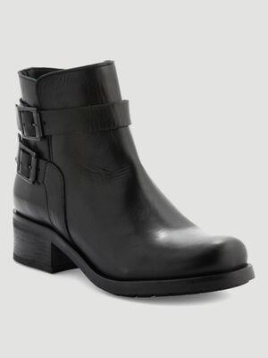 Boots motardes en cuir noir femme