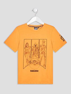 T shirt The Mandalorian orange garcon