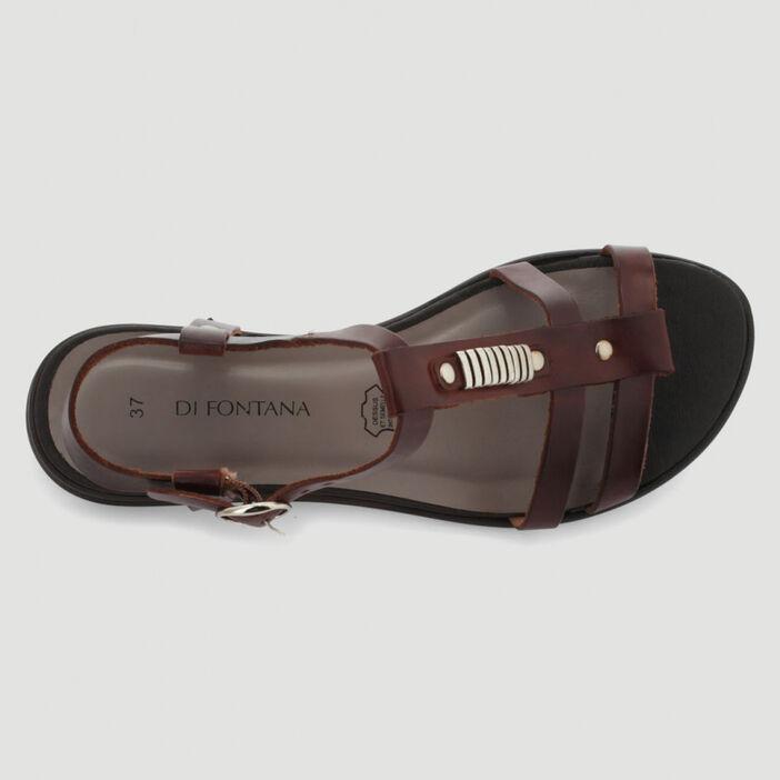 Sandales en cuir bride fantaisie femme marron