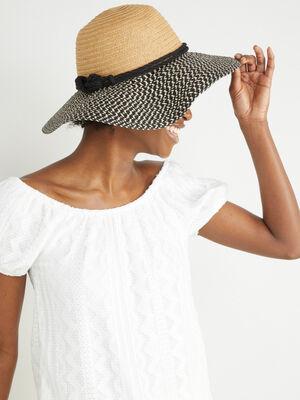 Chapeau capeline avec imprime ethnique multicolore mixte