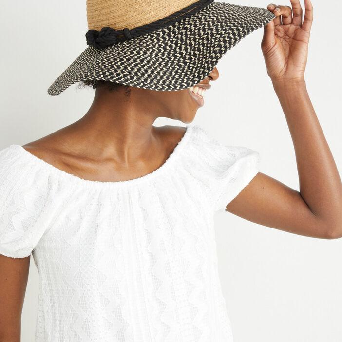 Chapeau capeline avec imprimé ethnique mixte multicolore