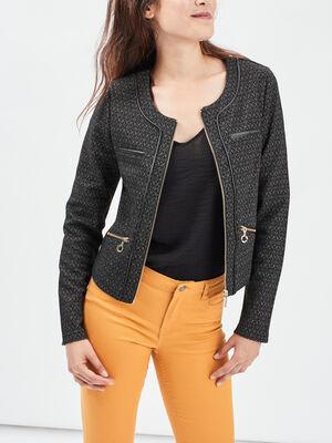 Veste droite zippee gris fonce femme