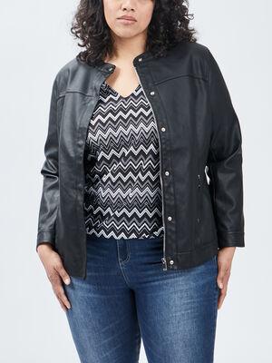 Blouson droit zippe noir femmegt