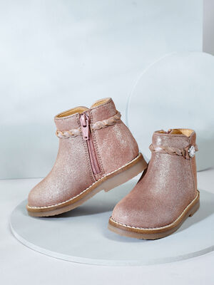 Bottines zippees decoration cloutee rose bebe