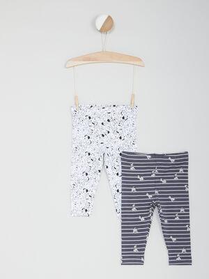 Lot 2 leggings 101 Dalmatiens multicolore fille
