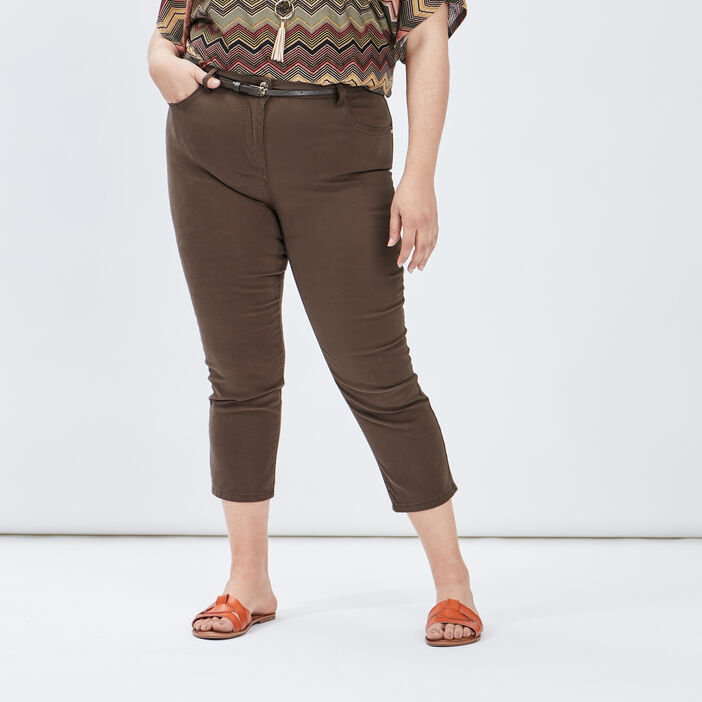 Pantalon slim ceinturé femme grande taille vert kaki