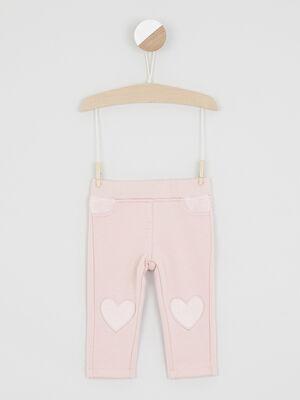 Pantalon slim avec coeurs brodes rose clair fille